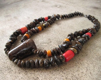 Amber Coral Bib Necklace Red Orange Chunky Ethnic Style Jewelry Natural Raw Gemstone Huge Big Large Black Dark Unpolished  African Tribal