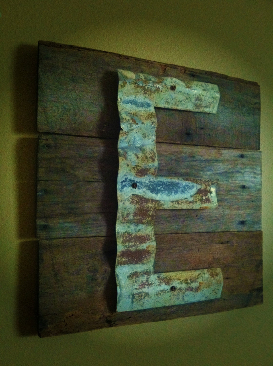 Reclaimed Barn Wood Upcycled Sign Patina Initial Monogram