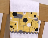 Tea Towel Yellow, Black and Gray Geometric Retro Mod Fabric Kitchen Towel or Guest Towel