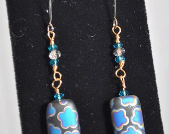 Dangle earrings with blue purple black glass and turquoise crystal beads