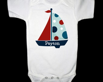 Personalized Sailboat Shirt or Bodysuit - Personalized with ANY name