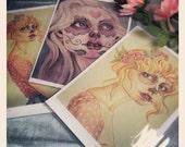 Candyfloss Muertina - A4 Canvas Print