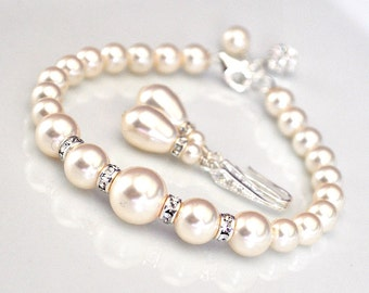 Pearl Bridal Jewelry SET, Bridal Wedding Jewellery, Bracelet and Earrings SET, Pearl Jewelry
