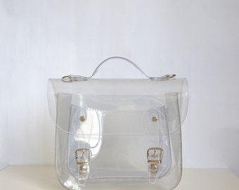 Bag number 3 Clear transparent plastic satchel shoulder strap (Handmade to order)