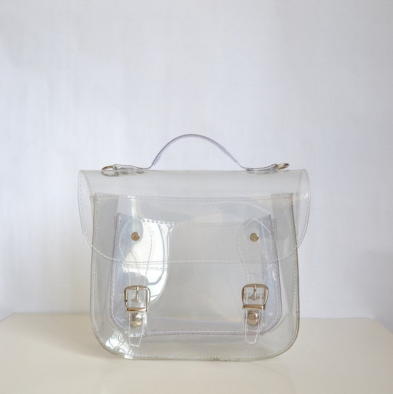 Bag number 3 Clear transparent plastic satchel shoulder strap