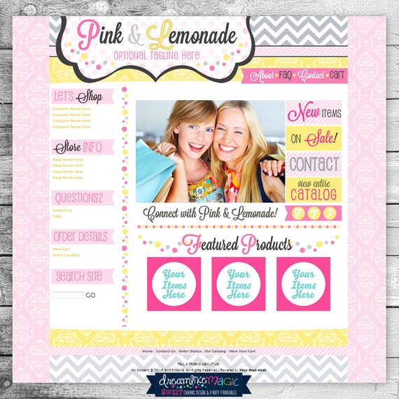 Premade Website Template: Yellow Damask with Pink and Gray Chevron Design