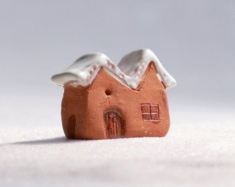 little cottage house - terracotta house with white glaze, lil village no30