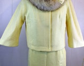 SALE - Vintage 1950s Lilli Ann Ivory Suit Dress Fox collar - Wool with real fox fur - 2 piece skirt and jacket