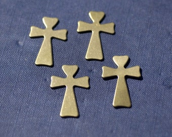 Brass Cross Religious Blank 33mm x 22mm Cutout for Blanks Soldering Stamping Texturing 4 pieces
