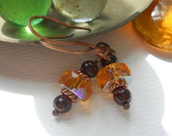 Gold and Maroon Faceted Glass and Copper Drop Earrings