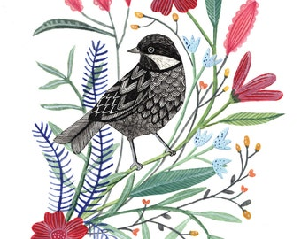 Spring Bird with Flowers Art Print 8x10