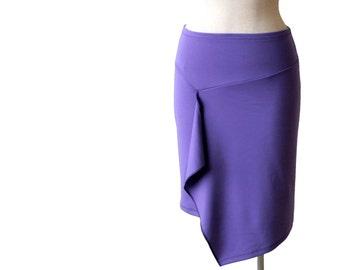 Asymmetric tulip wrap skirt Jersey wrap skirt Knee length pencil skirt Spring skirt Womens plus size skirt Plus size clothing Wrap skirt