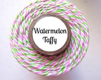 Pink, White, & Lime Green Bakers Twine by Trendy Twine - Watermelon Taffy - Perfect for Spring or Easter
