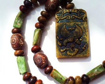 Big Bold Chunky necklace Jade Eagle carved Stone artist designed