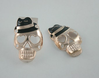 2 pcs Zinc Gold Skull Face Love Charms Pendants Decorations Findings 27 mm. WYSK3046