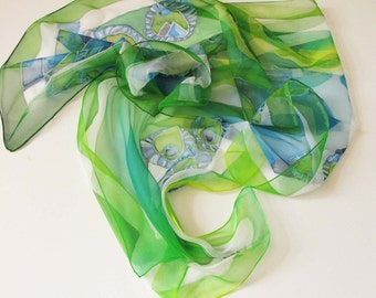 Green scarf on natural chiffon silk - green with blue hand painted scarves - wearable art painted 18x72