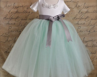 Mint green with silver grey ribbon Flower Girl tutu.  Weddings, birthday, special occasion.