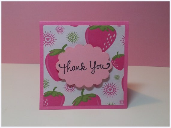 Thank You Mini Cards Customer Thank You Cards - Pink Strawberries ( Set of 4)