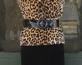 Plush Vintage 1960's Mod Faux Leopard Fur Tank Top Blouse - Cat Woman - Les Purrrrrrrrrrrr