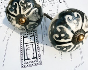 ceramic door knob, handpainted door knob,