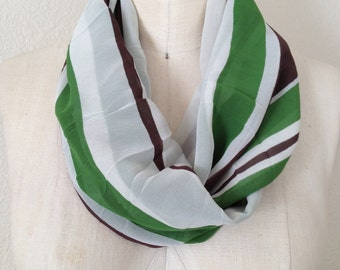 CLEARANCE Infinity Scarf - Green and Brown Chiffon Stripes