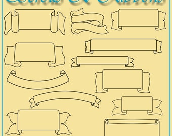 Scrolls and Ribbons Vector Clipart (40)