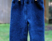 Upcycled Warm Wool Baby Pants - Twilight Blue - NB-3 months