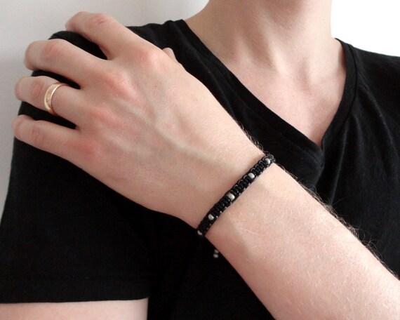 Black leather unisex bracelet knotted grey glass macrame makrame rocker