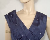 1940s 1950s dark blue taffeta satin dress -  Medium - v neck - witchy back collar - empire waist - embellished w rhinestones sequins
