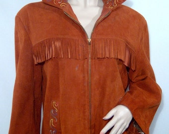 1960s Embroidered hippie boho cowgirl fringed rust brown suede jacket - Medium / Large - zip up - soft southwestern Native western coat