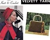 Vintage 1960s Knitting & Crochet Pattern booklet Handbags Purses Hats Beret Scarves Lace Collar originals NOT PDF