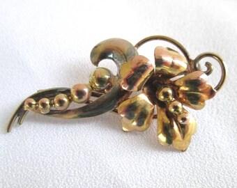 Vintage 12K Gold Filled Floral Pin Brooch Carl-Art 1940's