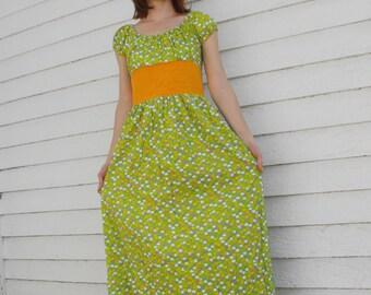 70s Dress Green Yellow Print Hippie Peasant Maxi XS or 12 14 Teen Girl