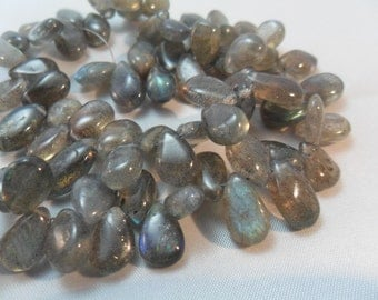 Gemstone Bead, Labradorite Smooth Briolette Pears, Top Drilled Beads,  10x8mm,  11 pieces