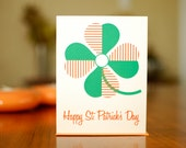 Mod Shamrock Happy St. Patrick's Day Card on 100% Recycled Paper