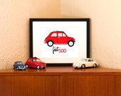 Custom listing for Darby - Vintage Red Fiat 500 Art Print - 8 x 10 with Free Shipping in US