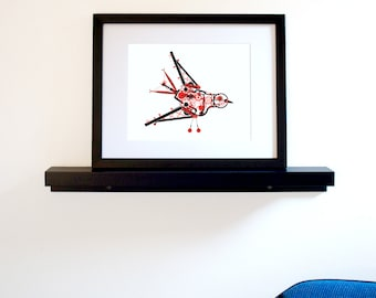 Steampunk Bird Art Print - Red & Black Wall Decor on 100% Recycled Paper (Free Shipping in US)