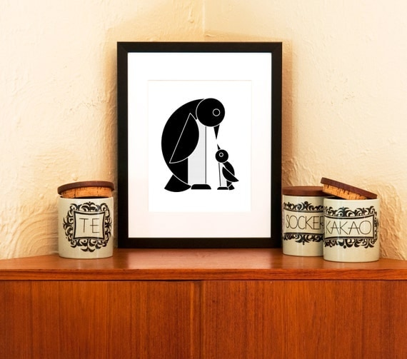 Arch of the Penguins Black and White Art Print on 100% Recycled Paper (Free Shipping in US)
