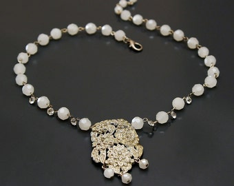 Sparkling Boquet of Roses. Crystal and Art Deco Vintage Rhinestone Necklace.