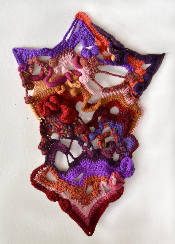 Unique Freeform Crochet Fiber Art Tapestry Wall Hanging