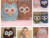 PATTERN Owl Washcloth Bath Mitts Crochet Pattern Instant Download