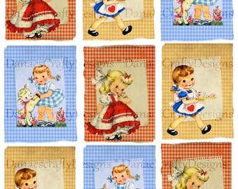 Retro Childrens Collage Sheet - CS R8 - 2.5x3.5 - Instant Digital Download - Bonus Sheet My Treat