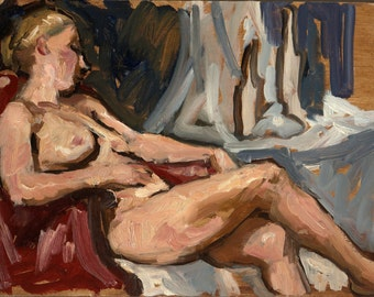 Reclining Female Nude. Original Oil Painting, Small Realist Oil on Panel, 8x12 Impressionist Figure Painting, Signed Original Fine Art