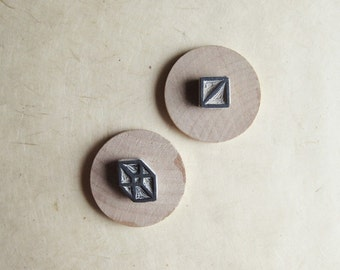 Geometry / Squares - Hand-Carved Rubber Stamp Set