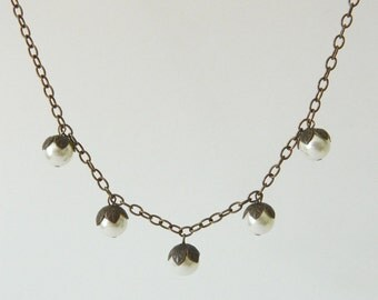 Woodland Pearlberry Necklace - Natural Brass and Cream Ivory Pearls Swarovski Crystal - Color Options
