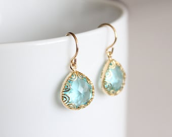Gold Framed Glass Pendant Earrings - Blue - Grace - LAST ONE SALE