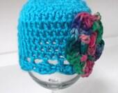 AQUA Shell Cap...Tie Dye Floral Accent...Newborn GIRL.Spring through Fall.. PHOTOS..Ready to Ship