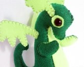 Baby Dragon felt plush stuffed animal- Green with lime green