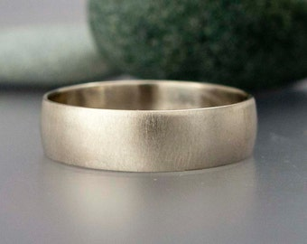 White Gold Mens Wedding Band - 6mm Wide Half Round Ring in Solid 14k Gold