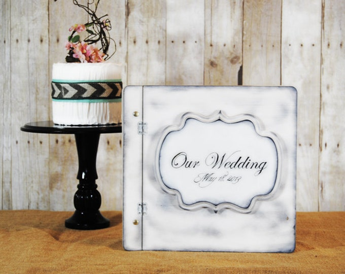Shabby Chic Rustic Wedding Album or Guest Book with Personalized Print